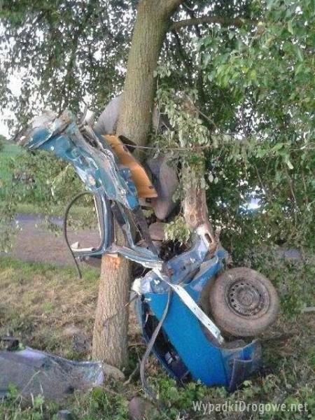 Auto zmiażdżone po zderzeniu z drzewem. Kierowca zmarł